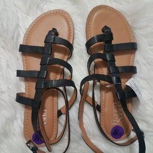Franco Sarto Blk Ankle Strap Leather Upper Sandals